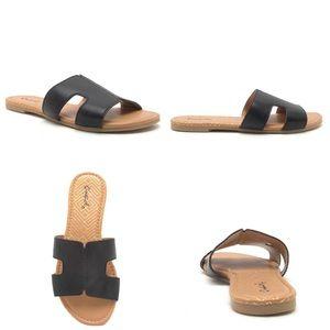 Black Slide In Sandals